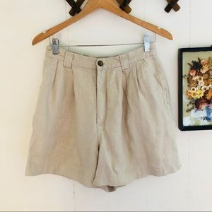 Vtg High Waisted Linen Shorts